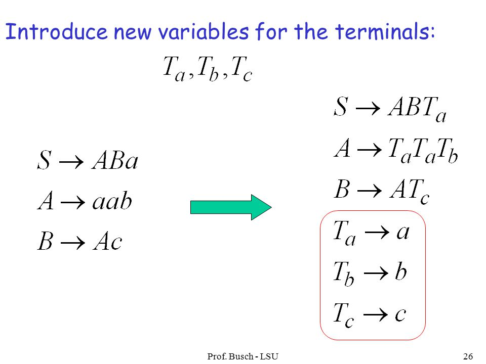 Prof. Busch - LSU26 Introduce new variables for the terminals: