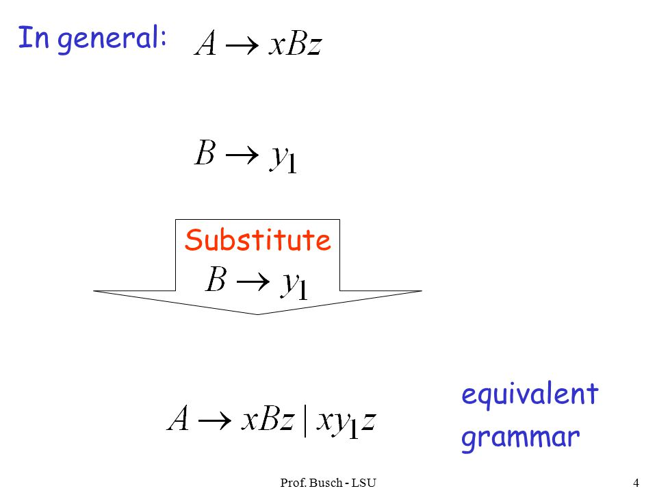 Prof. Busch - LSU4 In general: Substitute equivalent grammar