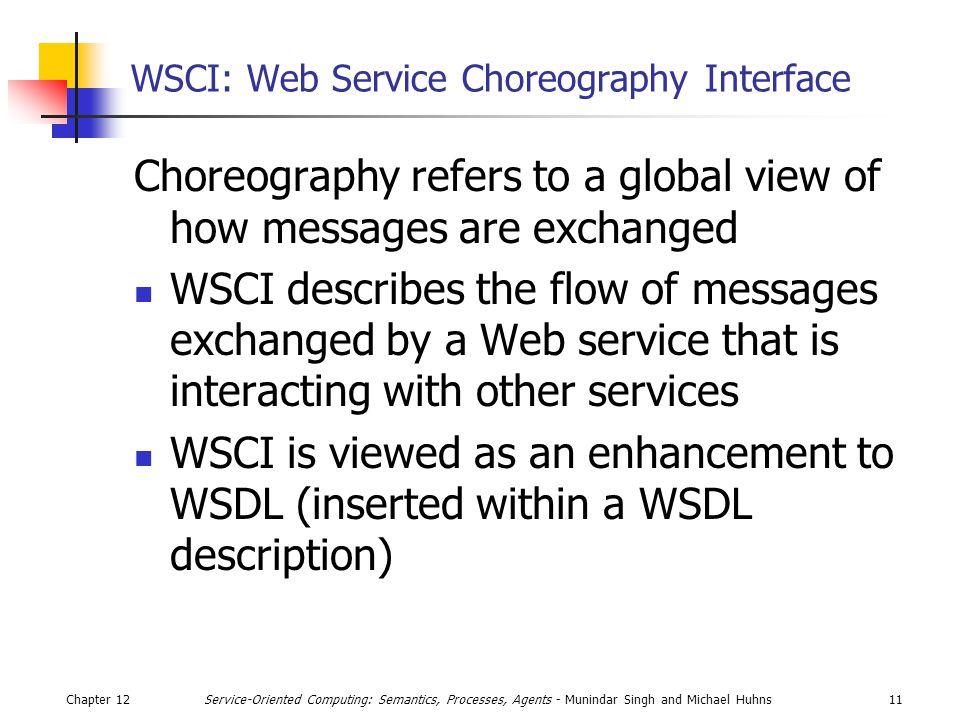 Chapter 1211Service-Oriented Computing: Semantics, Processes, Agents - Munindar Singh and Michael Huhns WSCI: Web Service Choreography Interface Chore