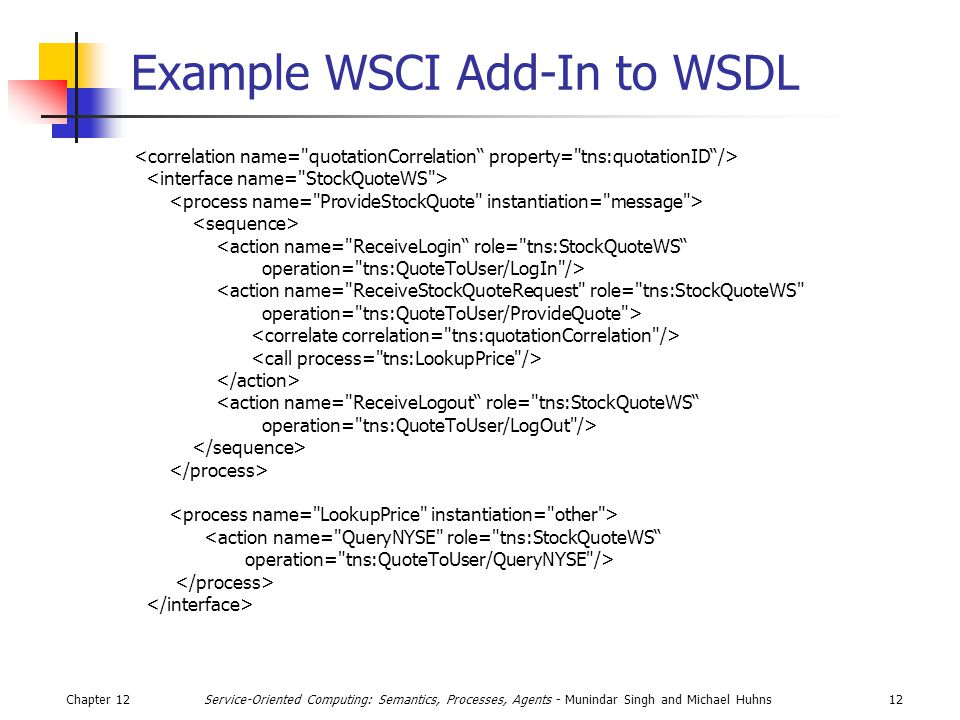 Chapter 1212Service-Oriented Computing: Semantics, Processes, Agents - Munindar Singh and Michael Huhns Example WSCI Add-In to WSDL <action name= ReceiveLogin role= tns:StockQuoteWS operation= tns:QuoteToUser/LogIn /> <action name= ReceiveStockQuoteRequest role= tns:StockQuoteWS operation= tns:QuoteToUser/ProvideQuote > <action name= ReceiveLogout role= tns:StockQuoteWS operation= tns:QuoteToUser/LogOut /> <action name= QueryNYSE role= tns:StockQuoteWS operation= tns:QuoteToUser/QueryNYSE />