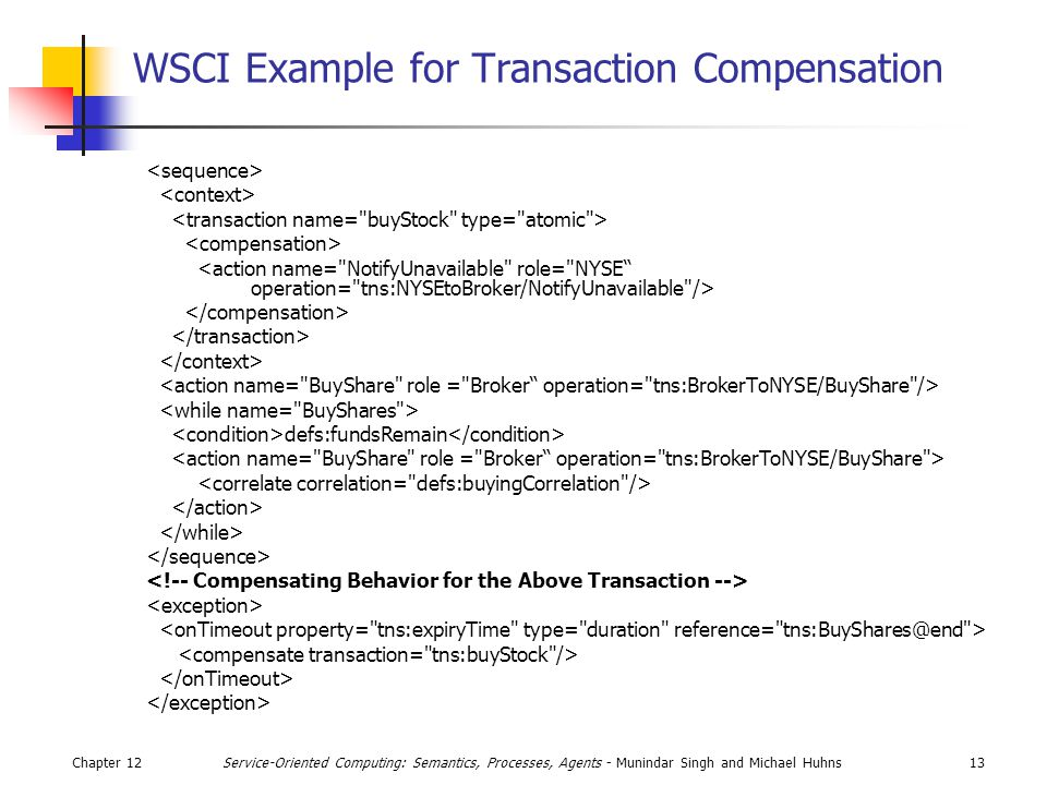Chapter 1213Service-Oriented Computing: Semantics, Processes, Agents - Munindar Singh and Michael Huhns WSCI Example for Transaction Compensation defs:fundsRemain