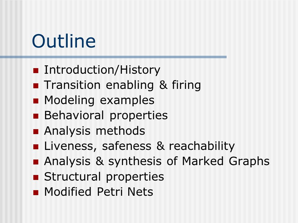 Reachability Criteria (3) forward(backward)-conflict-free net or FCF(BCF) each place has at most one outgoing (incoming) arc nondecreasing(nonincreasing)-circuit net or NDC(NIC) the token content in any directed graph is never decreased (increased) by any transition firing MG  FCF  NDC  TC  TCC MG  BCF  NIC  SC  SCC