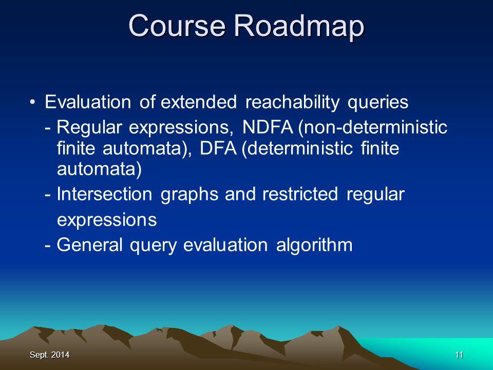 Sept. 201411 Course Roadmap Evaluation of extended reachability queries - Regular expressions, NDFA (non-deterministic finite automata), DFA (determin