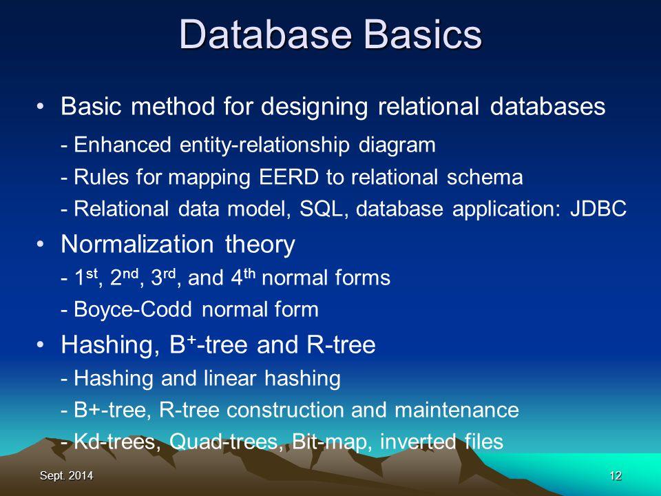 Sept. 201412 Database Basics Basic method for designing relational databases - Enhanced entity-relationship diagram - Rules for mapping EERD to relati