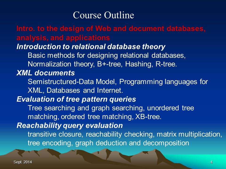 Sept. 20144 Course Outline Intro.