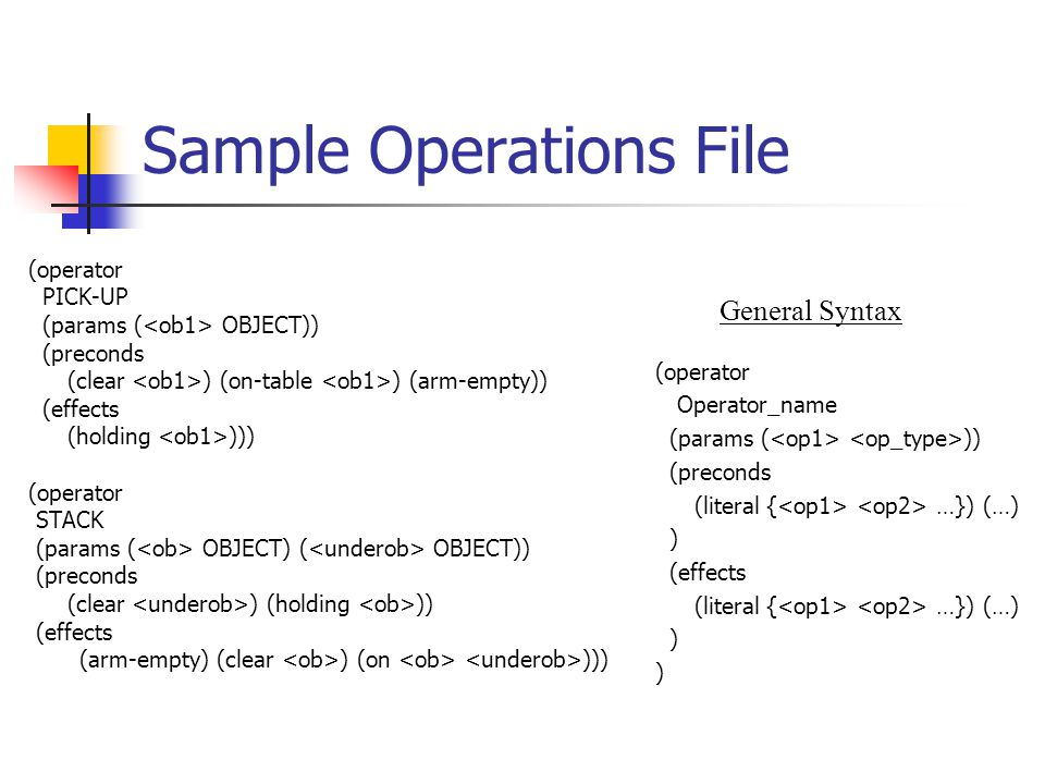 Sample Operations File (operator PICK-UP (params ( OBJECT)) (preconds (clear ) (on-table ) (arm-empty)) (effects (holding ))) (operator STACK (params