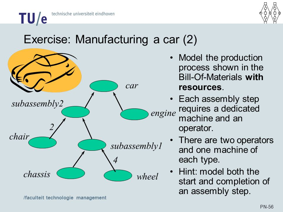 /faculteit technologie management PN-56 Exercise: Manufacturing a car (2) Model the production process shown in the Bill-Of-Materials with resources.