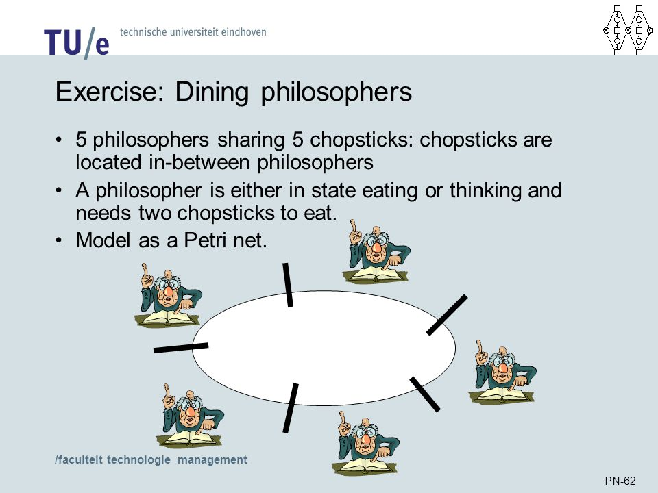 /faculteit technologie management PN-62 Exercise: Dining philosophers 5 philosophers sharing 5 chopsticks: chopsticks are located in-between philosoph