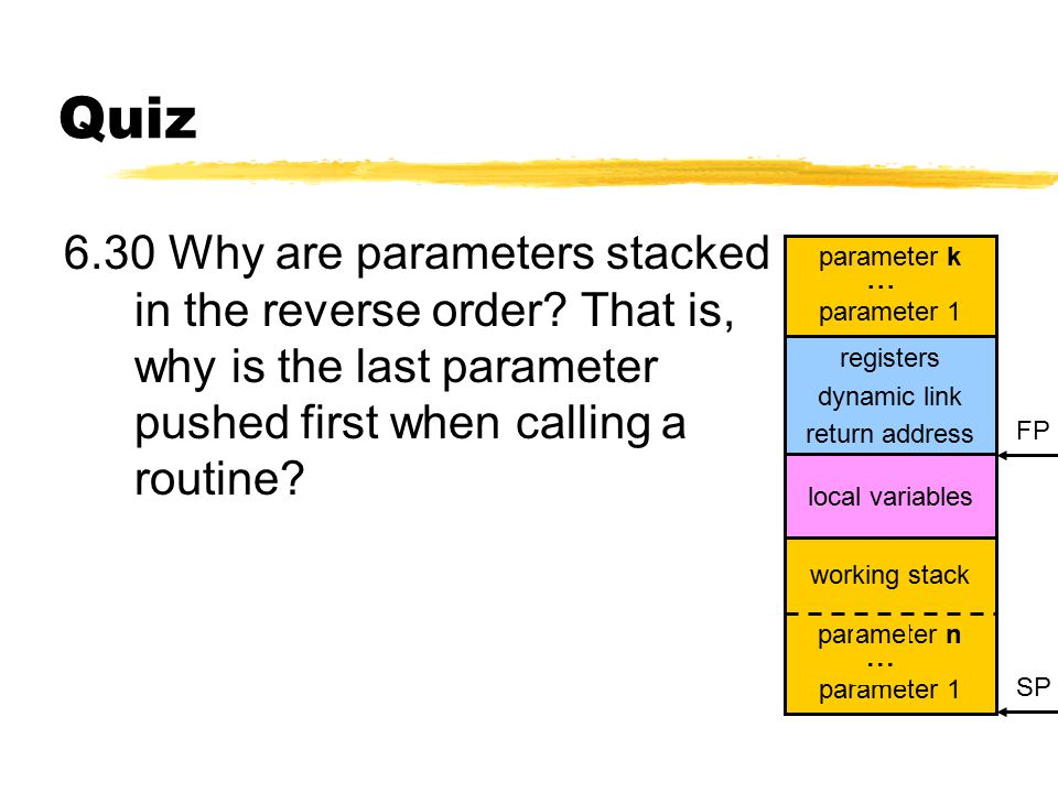 Quiz 6.30 Why are parameters stacked in the reverse order.