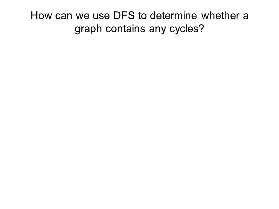 How can we use DFS to determine whether a graph contains any cycles