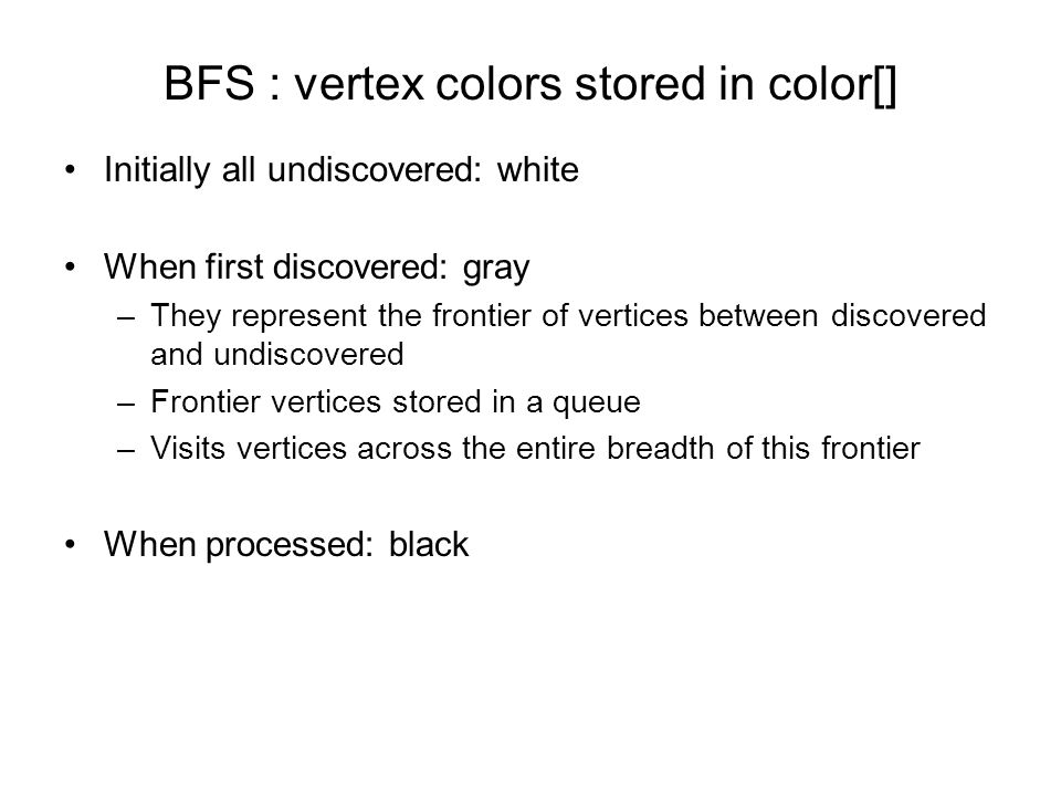 BFS : vertex colors stored in color[] Initially all undiscovered: white When first discovered: gray –They represent the frontier of vertices between discovered and undiscovered –Frontier vertices stored in a queue –Visits vertices across the entire breadth of this frontier When processed: black