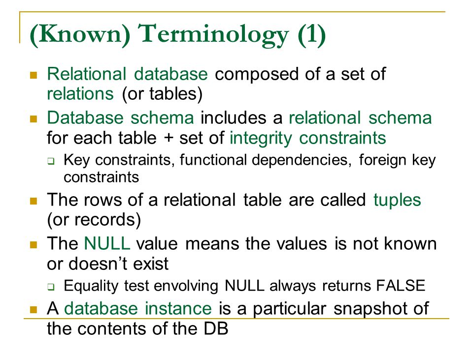 (Known) Terminology (1) Relational database composed of a set of relations (or tables) Database schema includes a relational schema for each table + s