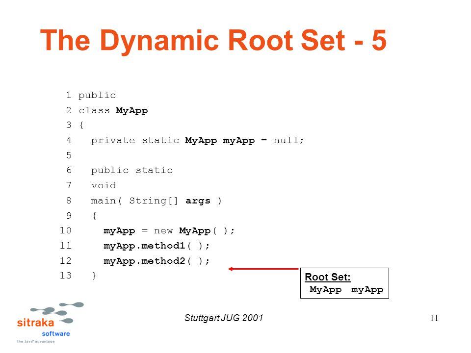 Stuttgart JUG 200111 The Dynamic Root Set - 5 1 public 2 class MyApp 3 { 4 private static MyApp myApp = null; 5 6 public static 7 void 8 main( String[] args ) 9 { 10 myApp = new MyApp( ); 11 myApp.method1( ); 12 myApp.method2( ); 13 } Root Set: MyApp myApp