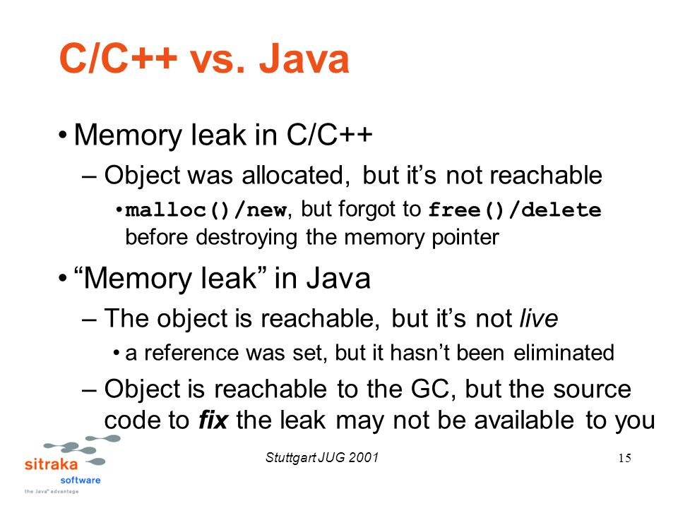 Stuttgart JUG 200115 C/C++ vs.