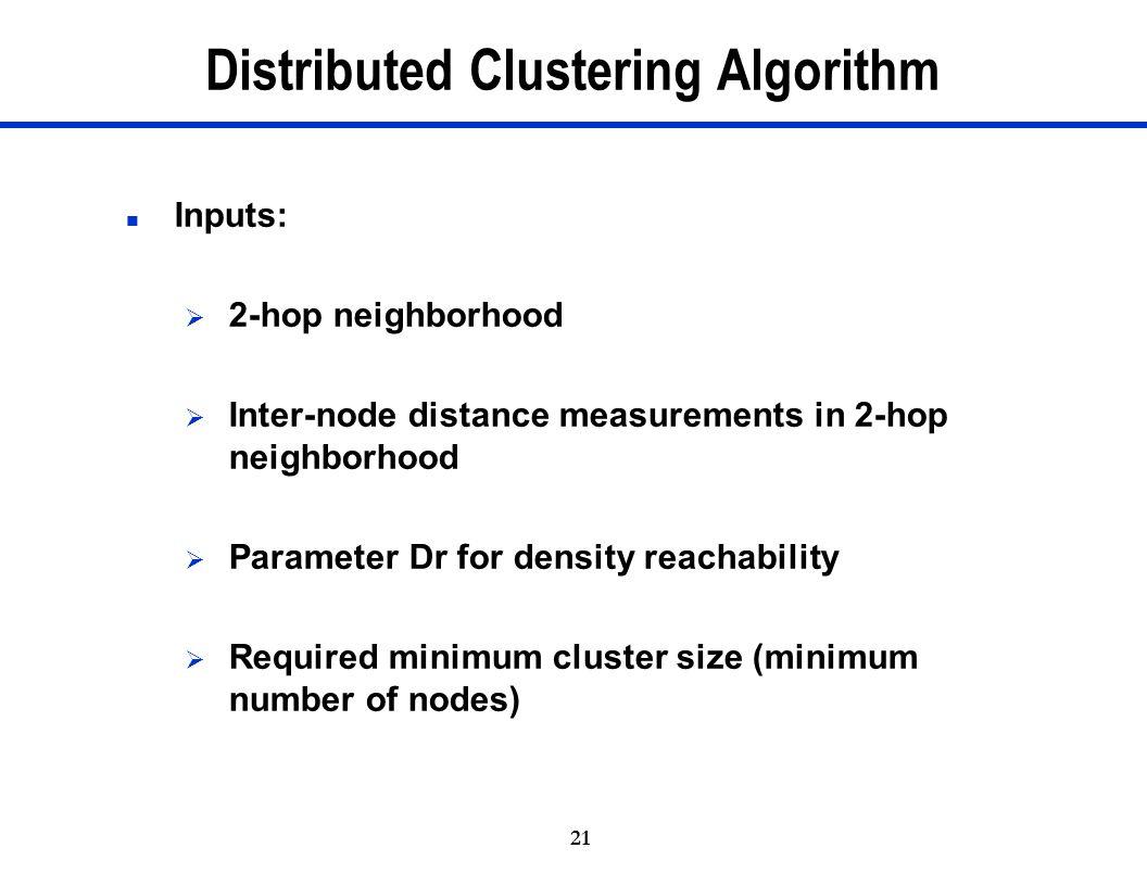 21 Distributed Clustering Algorithm n Inputs:  2-hop neighborhood  Inter-node distance measurements in 2-hop neighborhood  Parameter Dr for density