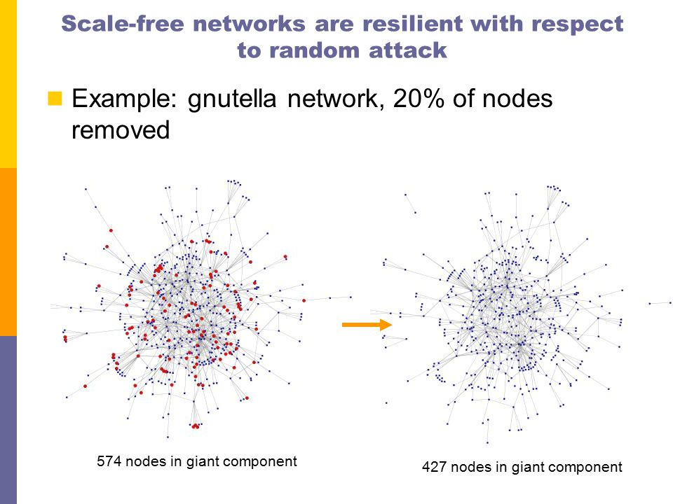 Scale-free networks are resilient with respect to random attack Example: gnutella network, 20% of nodes removed 574 nodes in giant component 427 nodes in giant component