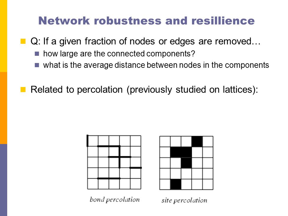 Network robustness and resillience Q: If a given fraction of nodes or edges are removed… how large are the connected components.