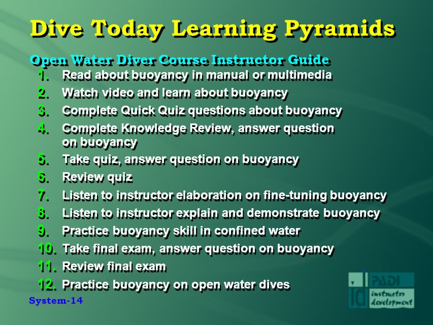 System-14 Dive Today Learning Pyramids Open Water Diver Course Instructor Guide 1. Read about buoyancy in manual or multimedia 2. Watch video and lear