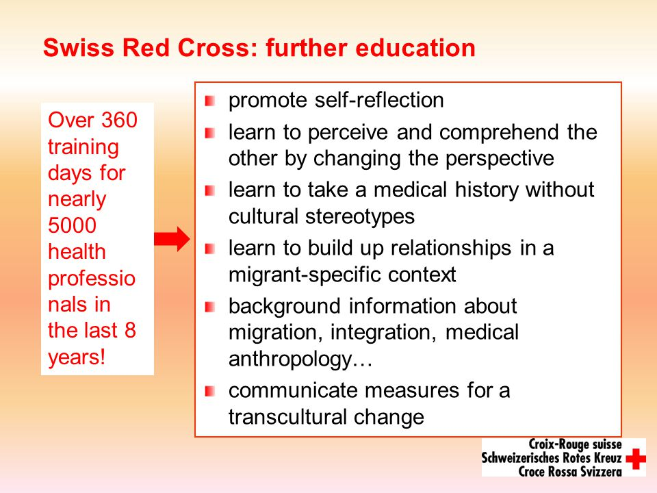 Swiss Red Cross: further education promote self-reflection learn to perceive and comprehend the other by changing the perspective learn to take a medical history without cultural stereotypes learn to build up relationships in a migrant-specific context background information about migration, integration, medical anthropology… communicate measures for a transcultural change Over 360 training days for nearly 5000 health professio nals in the last 8 years!