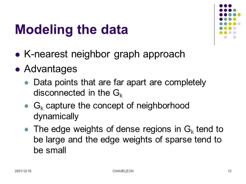 2001/12/18CHAMELEON13 Modeling the data K-nearest neighbor graph approach Advantages Data points that are far apart are completely disconnected in the G k G k capture the concept of neighborhood dynamically The edge weights of dense regions in G k tend to be large and the edge weights of sparse tend to be small