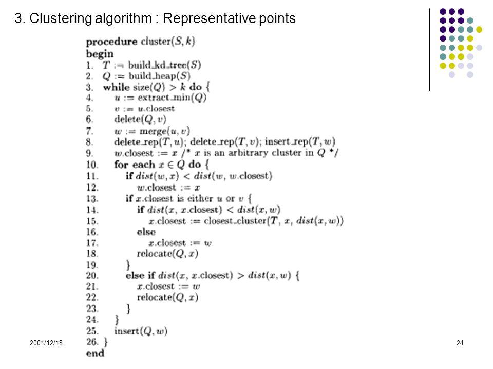 2001/12/18CHAMELEON24 3. Clustering algorithm : Representative points