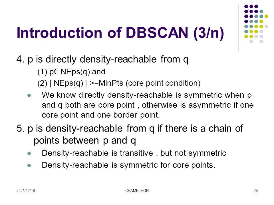 2001/12/18CHAMELEON28 Introduction of DBSCAN (3/n) 4.