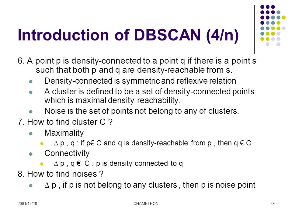 2001/12/18CHAMELEON29 Introduction of DBSCAN (4/n) 6.