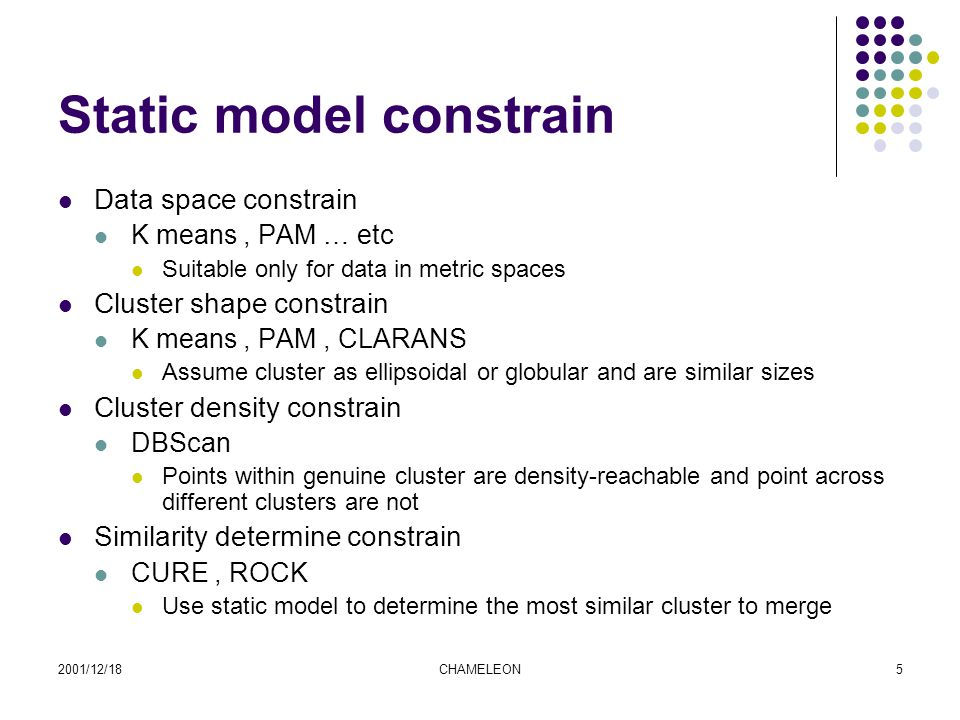 2001/12/18CHAMELEON5 Static model constrain Data space constrain K means, PAM … etc Suitable only for data in metric spaces Cluster shape constrain K means, PAM, CLARANS Assume cluster as ellipsoidal or globular and are similar sizes Cluster density constrain DBScan Points within genuine cluster are density-reachable and point across different clusters are not Similarity determine constrain CURE, ROCK Use static model to determine the most similar cluster to merge