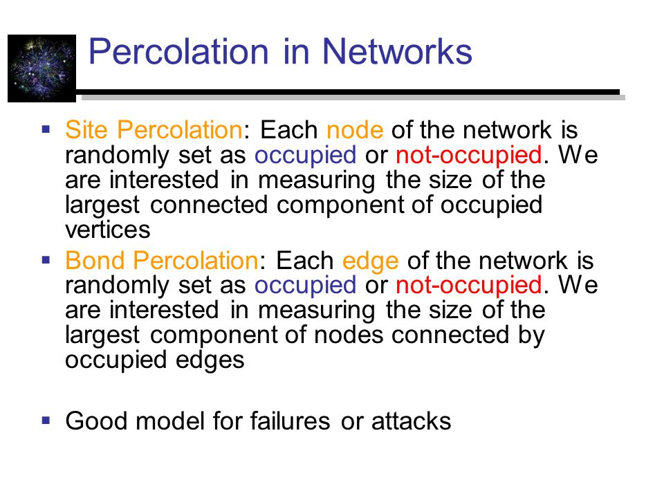 Percolation in Networks  Site Percolation: Each node of the network is randomly set as occupied or not-occupied.