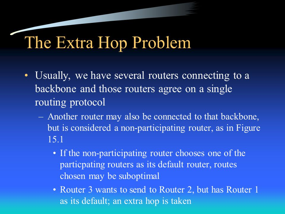 The Extra Hop Problem Usually, we have several routers connecting to a backbone and those routers agree on a single routing protocol –Another router may also be connected to that backbone, but is considered a non-participating router, as in Figure 15.1 If the non-participating router chooses one of the particpating routers as its default router, routes chosen may be suboptimal Router 3 wants to send to Router 2, but has Router 1 as its default; an extra hop is taken