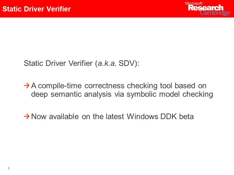 3 Static Driver Verifier (a.k.a.