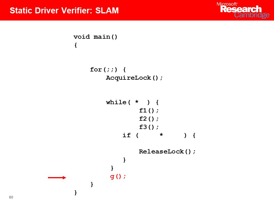 60 Static Driver Verifier: SLAM void main() { for(;;) { AcquireLock(); while( * ) { f1(); f2(); f3(); if ( * ) { ReleaseLock(); } g(); }