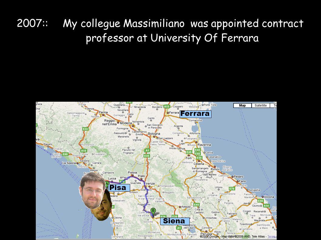 2007:: My collegue Massimiliano was appointed contract professor at University Of Ferrara Pisa Siena Ferrara
