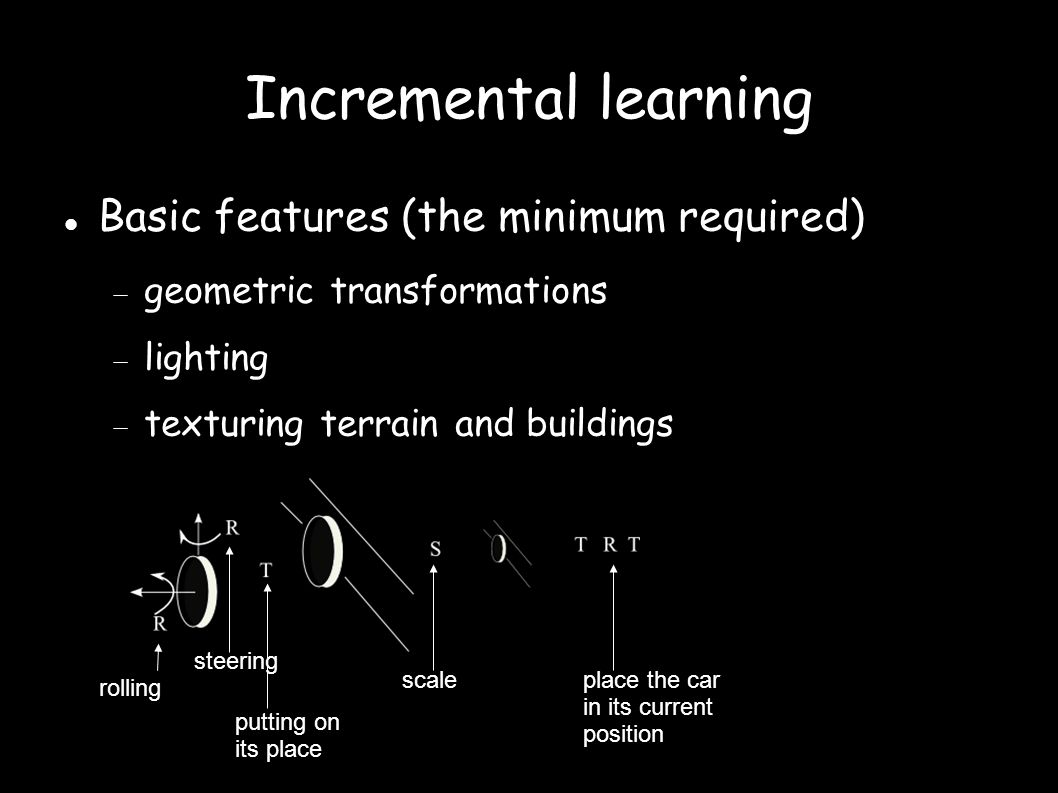 Incremental learning Basic features (the minimum required)   geometric transformations  lighting  texturing terrain and buildings rolling steering