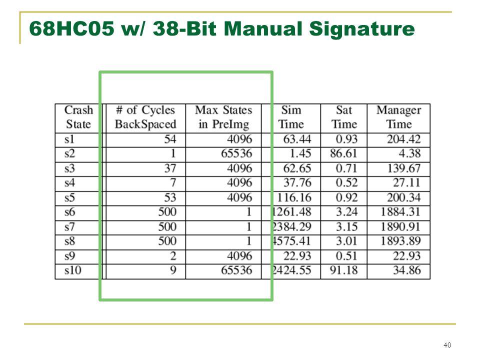 40 68HC05 w/ 38-Bit Manual Signature
