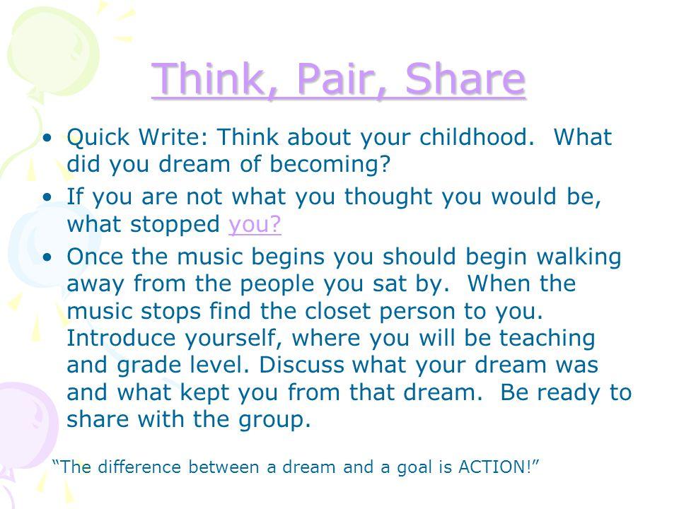 TTTT hhhh iiii nnnn kkkk,,,, P P P P aaaa iiii rrrr,,,, S S S S hhhh aaaa rrrr eeee Quick Write: Think about your childhood. What did you dream of bec