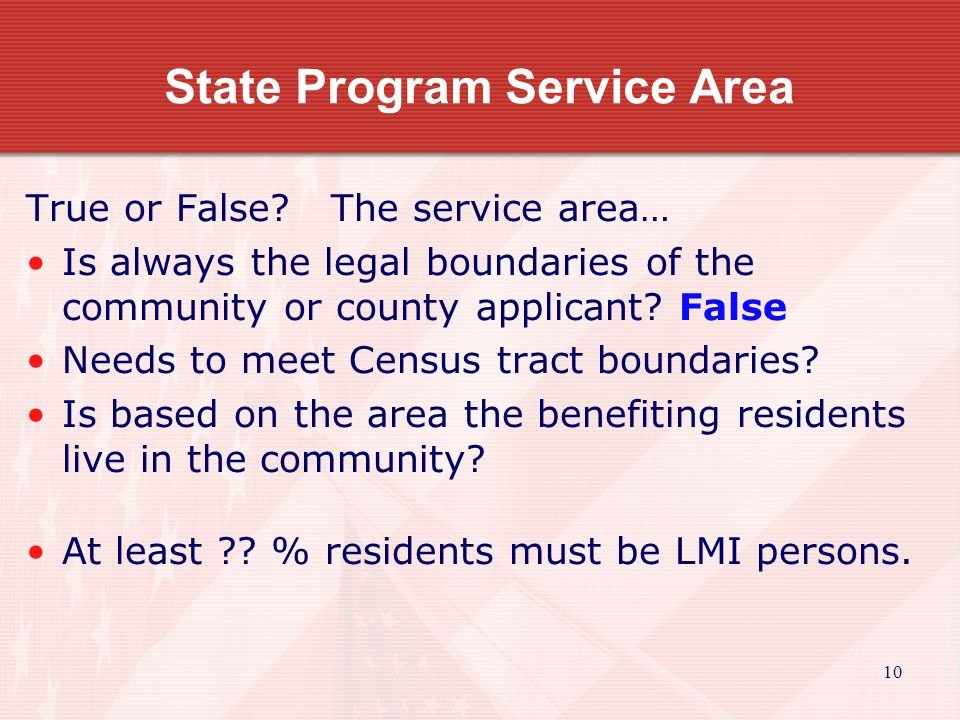 10 State Program Service Area True or False.