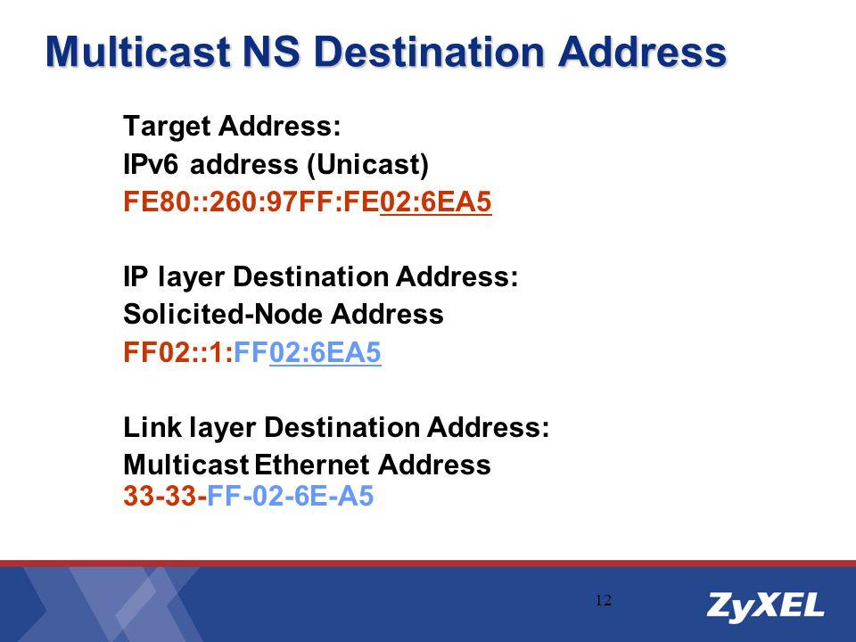 12 Multicast NS Destination Address Target Address: IPv6 address (Unicast) FE80::260:97FF:FE02:6EA5 IP layer Destination Address: Solicited-Node Addre