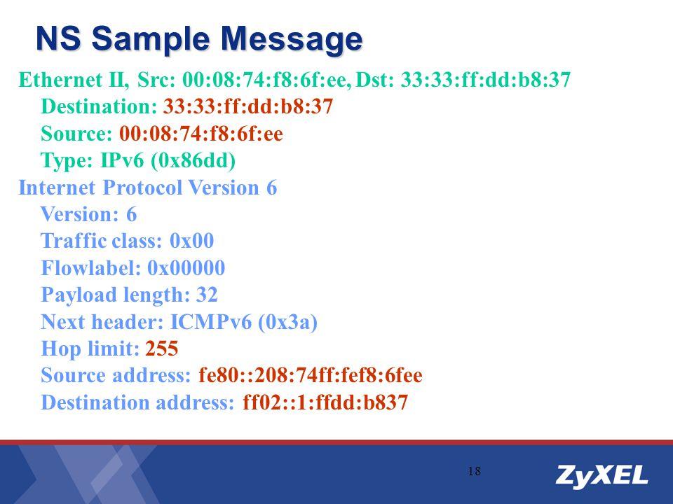 18 Ethernet II, Src: 00:08:74:f8:6f:ee, Dst: 33:33:ff:dd:b8:37 Destination: 33:33:ff:dd:b8:37 Source: 00:08:74:f8:6f:ee Type: IPv6 (0x86dd) Internet P