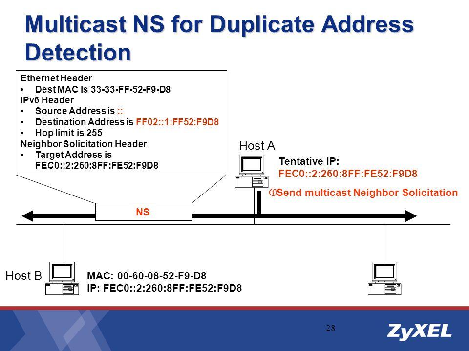 28 Multicast NS for Duplicate Address Detection Host B Host A  Send multicast Neighbor Solicitation NS Tentative IP: FEC0::2:260:8FF:FE52:F9D8 MAC: 0