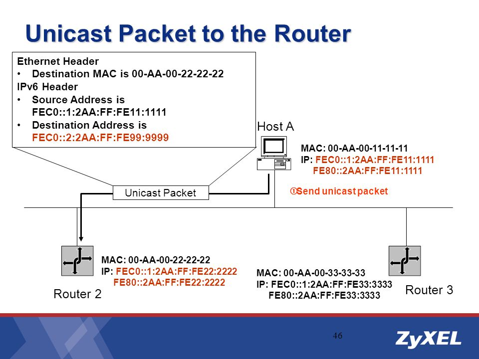 46 Unicast Packet to the Router Host A Ethernet Header Destination MAC is 00-AA-00-22-22-22 IPv6 Header Source Address is FEC0::1:2AA:FF:FE11:1111 Des