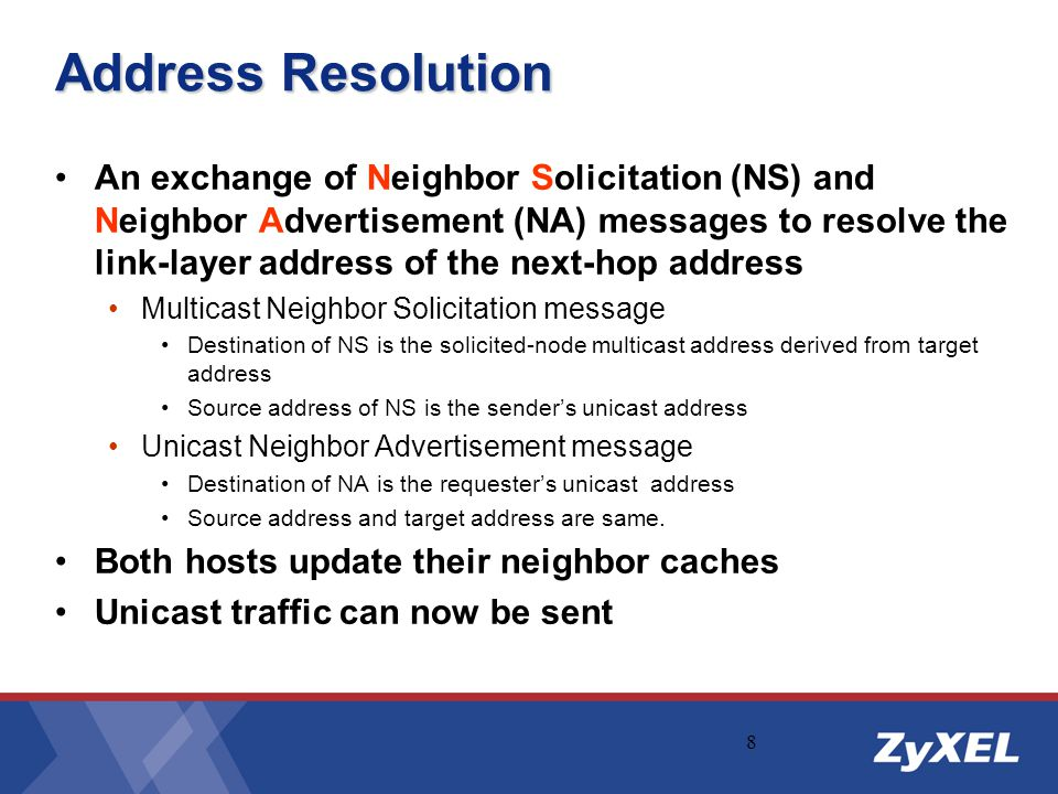 8 An exchange of Neighbor Solicitation (NS) and Neighbor Advertisement (NA) messages to resolve the link-layer address of the next-hop address Multica
