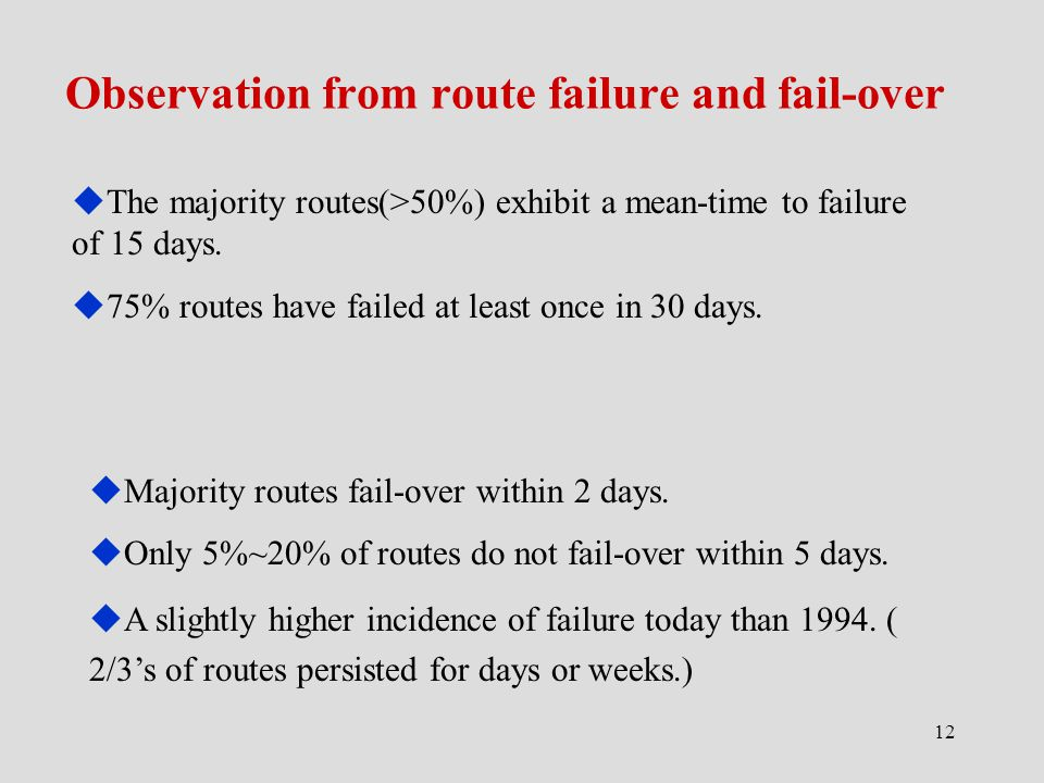 12 Observation from route failure and fail-over  The majority routes(>50%) exhibit a mean-time to failure of 15 days.