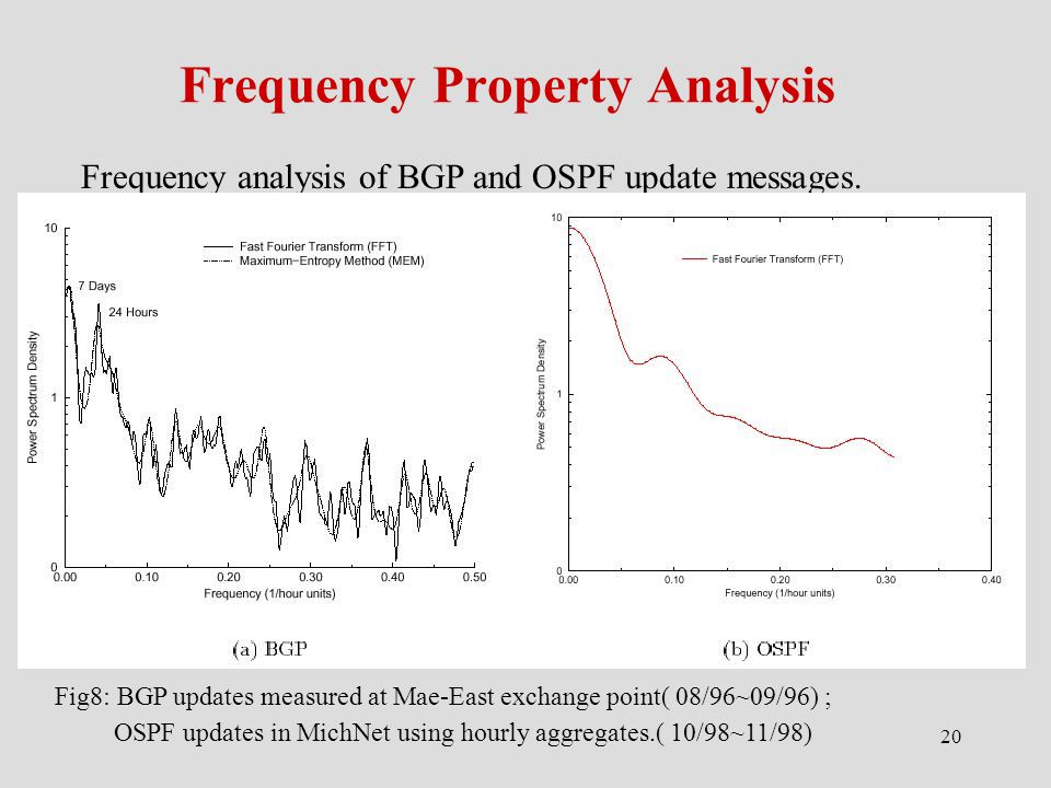20 Frequency Property Analysis Frequency analysis of BGP and OSPF update messages.