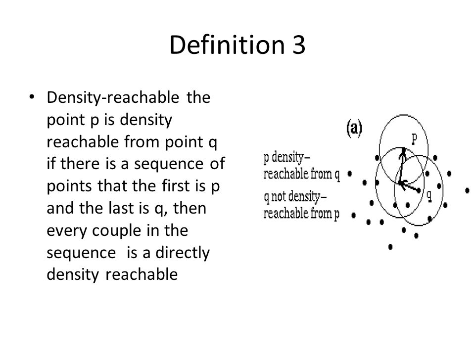 Definition 3 Density-reachable the point p is density reachable from point q if there is a sequence of points that the first is p and the last is q, then every couple in the sequence is a directly density reachable