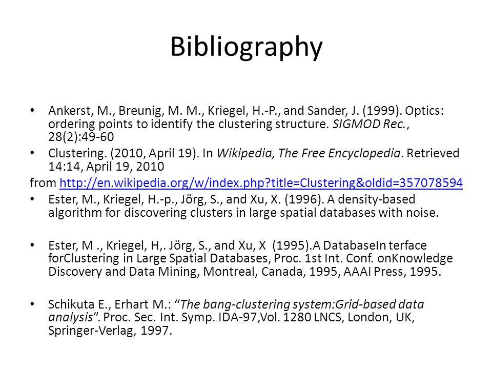 Bibliography Ankerst, M., Breunig, M. M., Kriegel, H.-P., and Sander, J.
