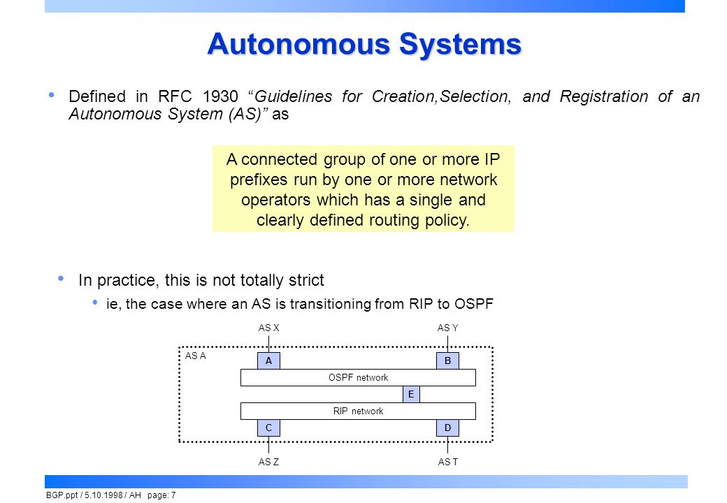 BGP.ppt / 5.10.1998 / AH page: 18 BGP Initialization Open connection to peer router, TCP port 179 Each sends OPEN message to other Possible errors include Version is unsupported  send NOTIFICATION indicating supported versions and close TCP  peer will probably retry specifying lower version number Collision  each peer tries to connect to the other, results in 2 TCP connections  one gets through first; the latter duplication is detected by noticing that the peer is already listed in routing table Authentication and sanity checks Eg, peer is found in list of acceptable potential neighbors Peer identifier is a valid address, length field checks out Rejection indicated by NOTIFICATION message and closure of TCP Connection is accepted by sending KEEPALIVE message Routing tables are initialized by UPDATE messages