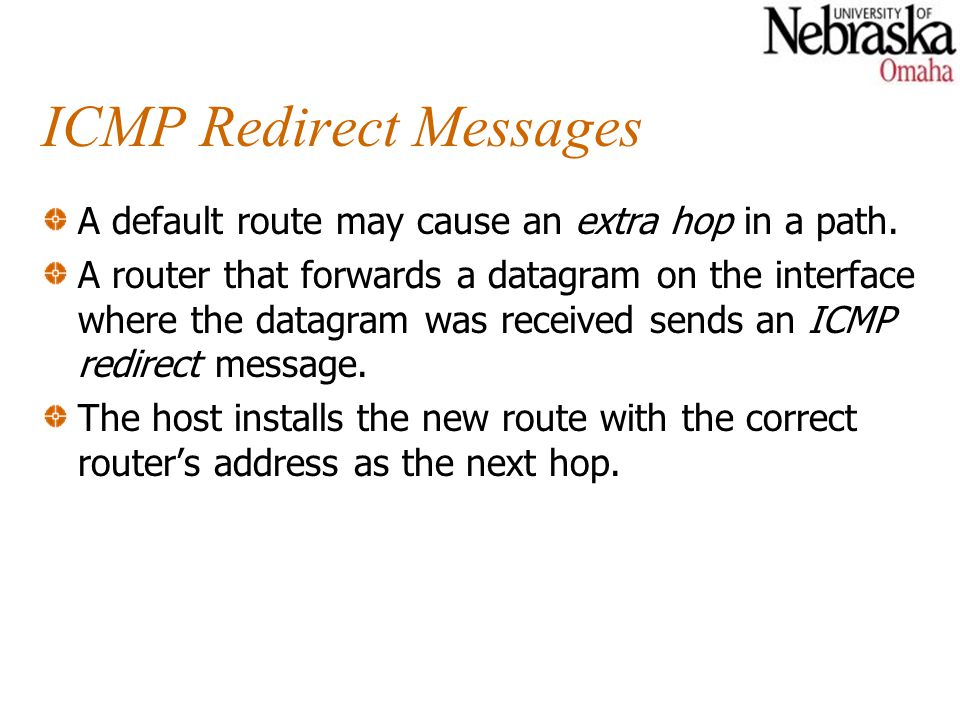 ICMP Redirect Messages A default route may cause an extra hop in a path.