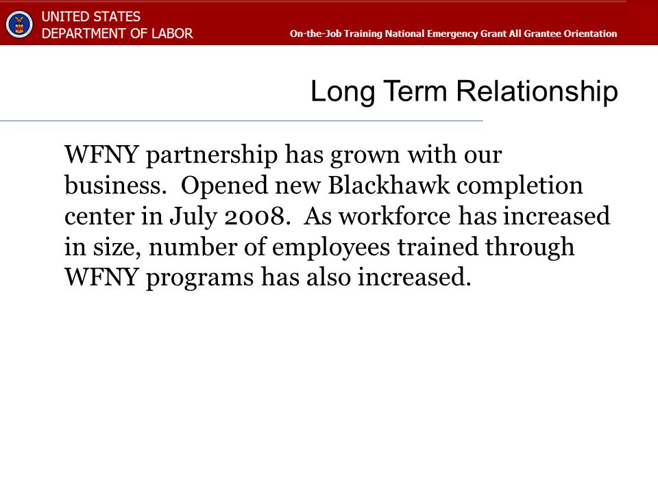 Long Term Relationship WFNY partnership has grown with our business.