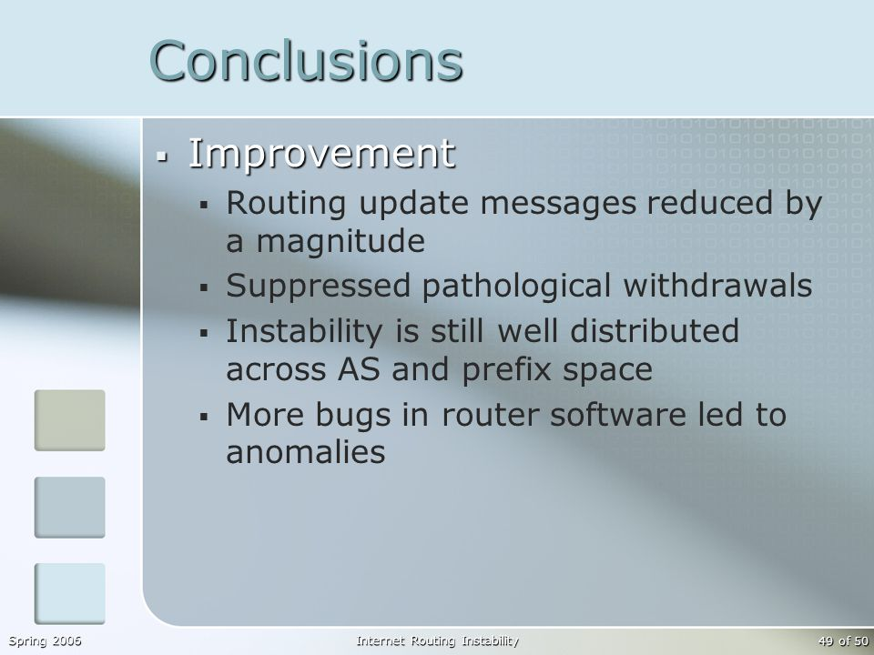 Spring 2006Internet Routing Instability 49 of 50 Conclusions  Improvement  Routing update messages reduced by a magnitude  Suppressed pathological withdrawals  Instability is still well distributed across AS and prefix space  More bugs in router software led to anomalies